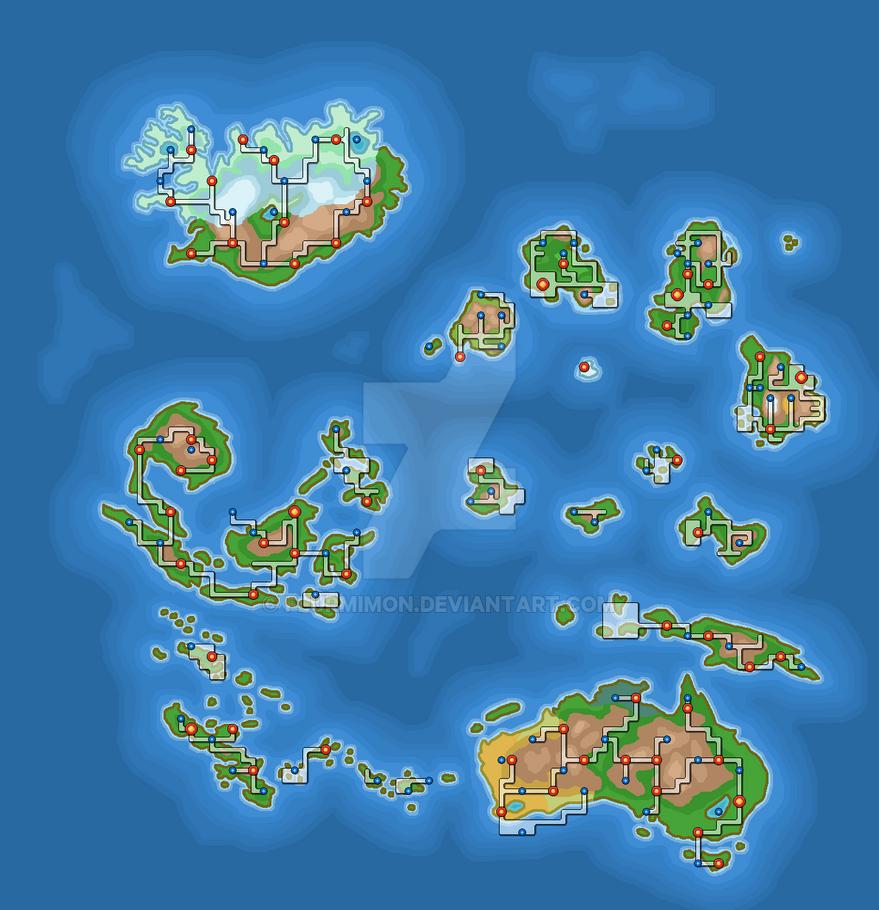 Pokemon World Map 2017.Pokemon World Third Continent By Flurmimon On Deviantart