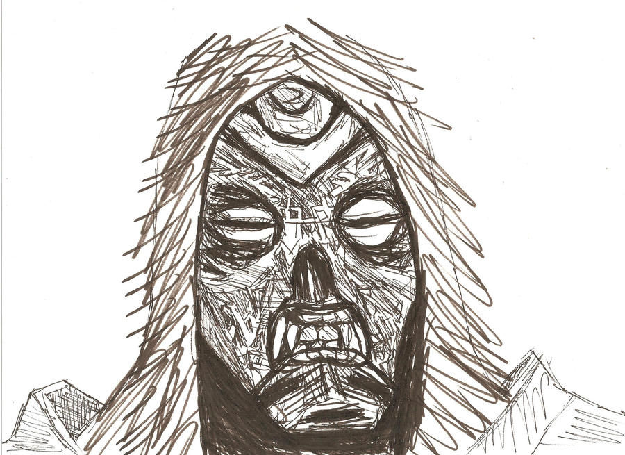 Dragon Priest Mask Sketch by LawrenceF
