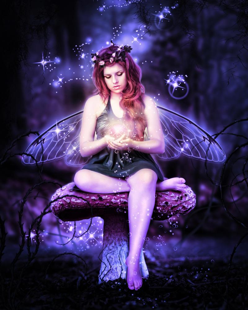 Mushroom Fairy Magic Night by brandrificus