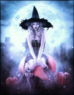 Pumpkin Halloween Witch by brandrificus
