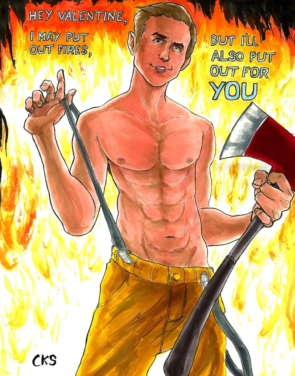 Valentine's Day Sexy Fireman Ryan Gosling by Scoogle on DeviantArt