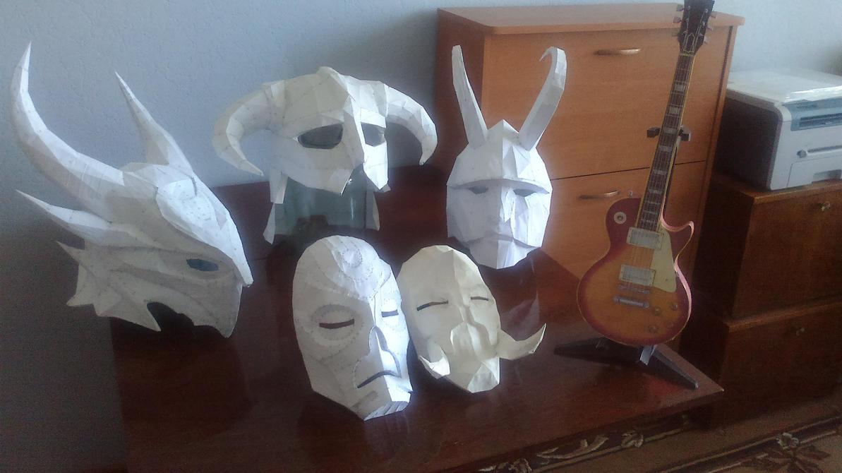 My skyrim helmets and masks by Chelsiec