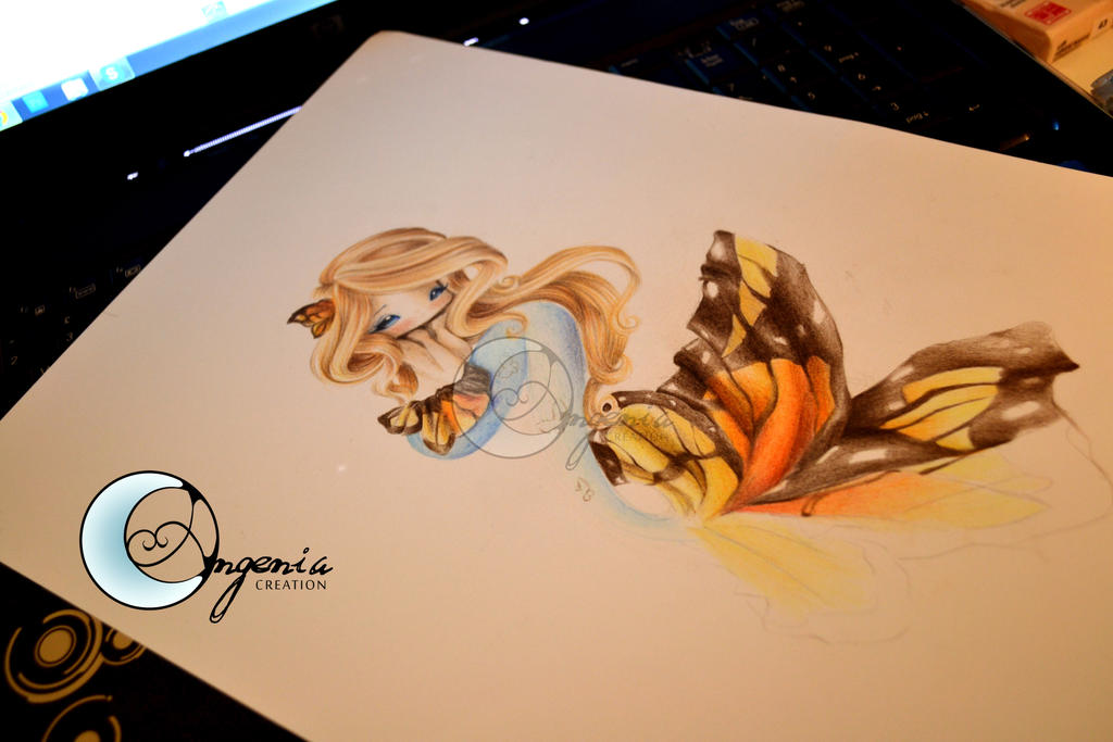 illustration mermaid butterfly by AngeniaC