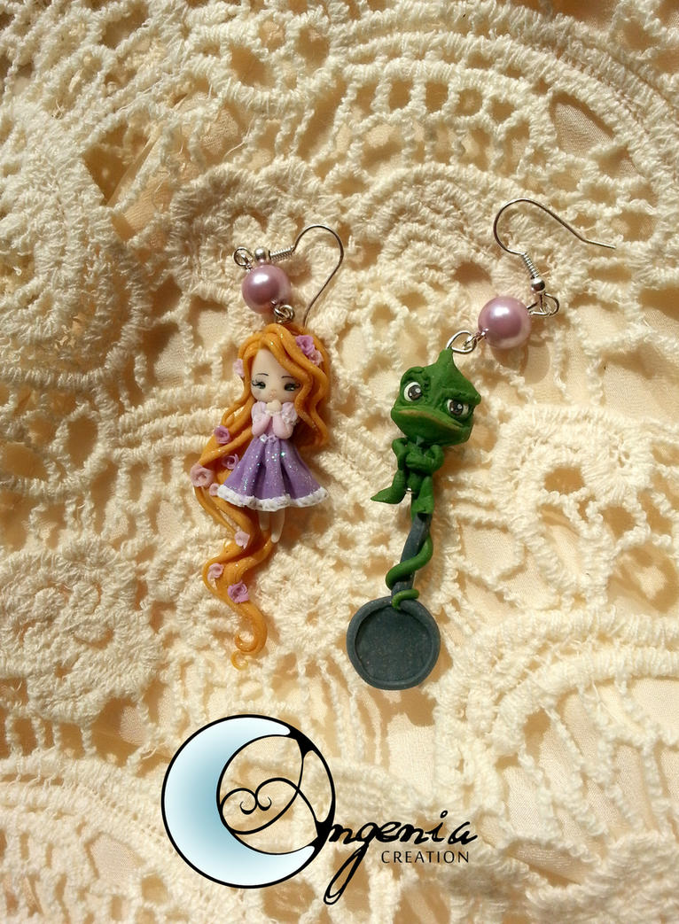 earrings rapunzel and pascal by AngeniaC