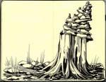limestone and cedar cairn