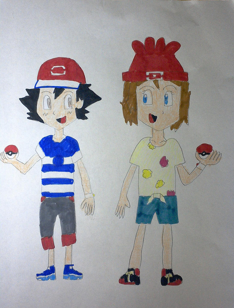 Alolan Ash and Serena by SuperSmash6453