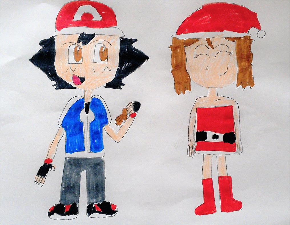 Ash and Serena Christmas by SuperSmash6453