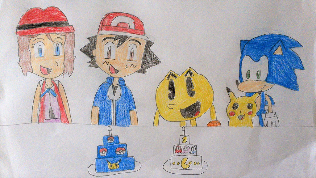 Happy Birthday Pac-Man and Ash! by SuperSmash6453