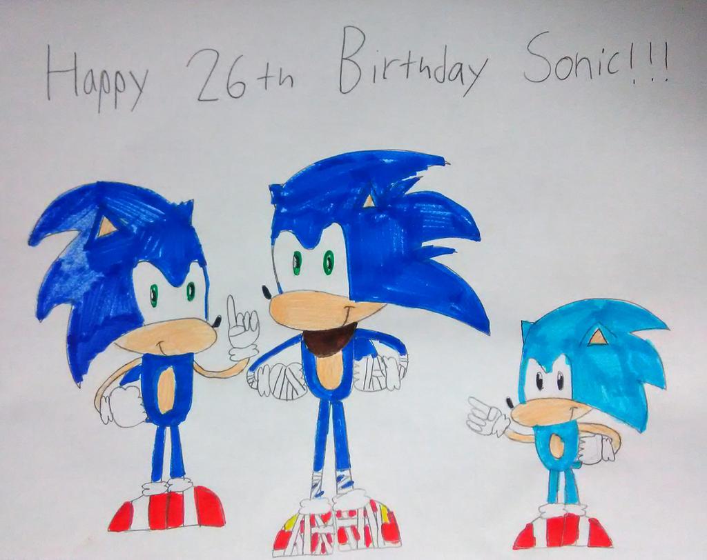 Happy 26th Birthday Sonic! by SuperSmash6453
