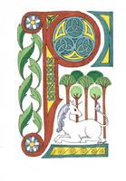 Illuminated Manuscript- P by Lamorien