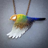 rainbow bird necklace by szaranagayama