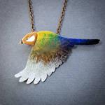 rainbow bird necklace