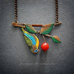 Brassy-breasted tanager necklace