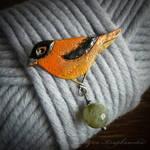 Black-and-orange Flycatcher brooch
