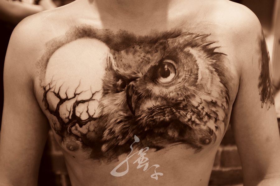 owl and moon tattoo by qiangzitattoo on deviantart