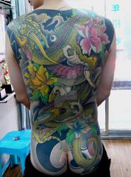 Full back Chinese Dragon tattoo by qiangzitattoo