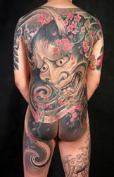 Hannya / Banruo full back tattoo by qiangzitattoo