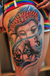 Ganesha tattoo by qiangzitattoo