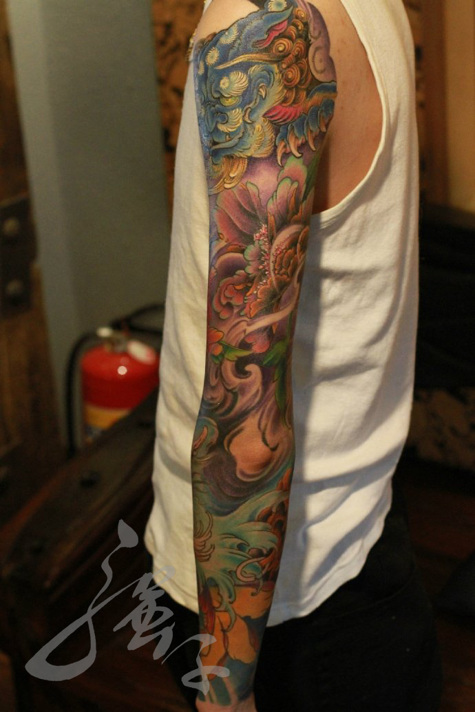 94dee59139507 Chinese Japanese sleeve with Hannya and Foo Dog 2 by qiangzitattoo ...