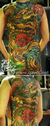 Full back full colour Chinese water dragon by qiangzitattoo