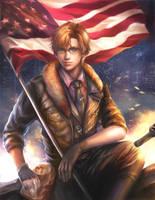 god bless america print by jiuge