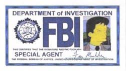 X-Files Fox Mulder FBI Badge Simpsons Style by sewandrere