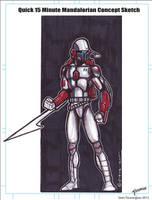 15 Minute Mandalorian Soldier Sketch by stourangeau