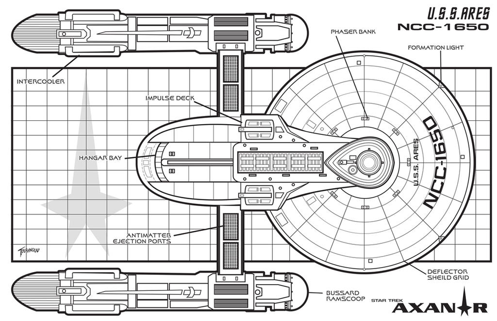 U.S.S Ares Top Schematic by stourangeau on DeviantArt on cylon fighter schematics, starbase schematics, mecha schematics, space schematics, train schematics, macross sdf-1 schematics,