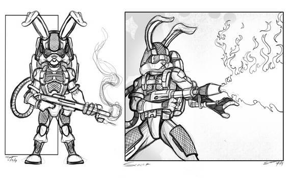 Ranger Rabbit character concept Scorch