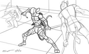 Action Mice Silhouette training sketch