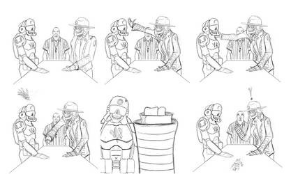 Slap contest storyboard pencils