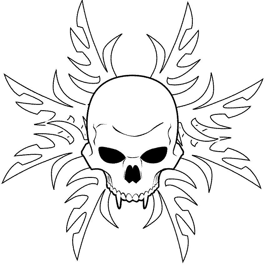 Skull Line Drawing Tattoo : Tribal skull line art by stourangeau on deviantart