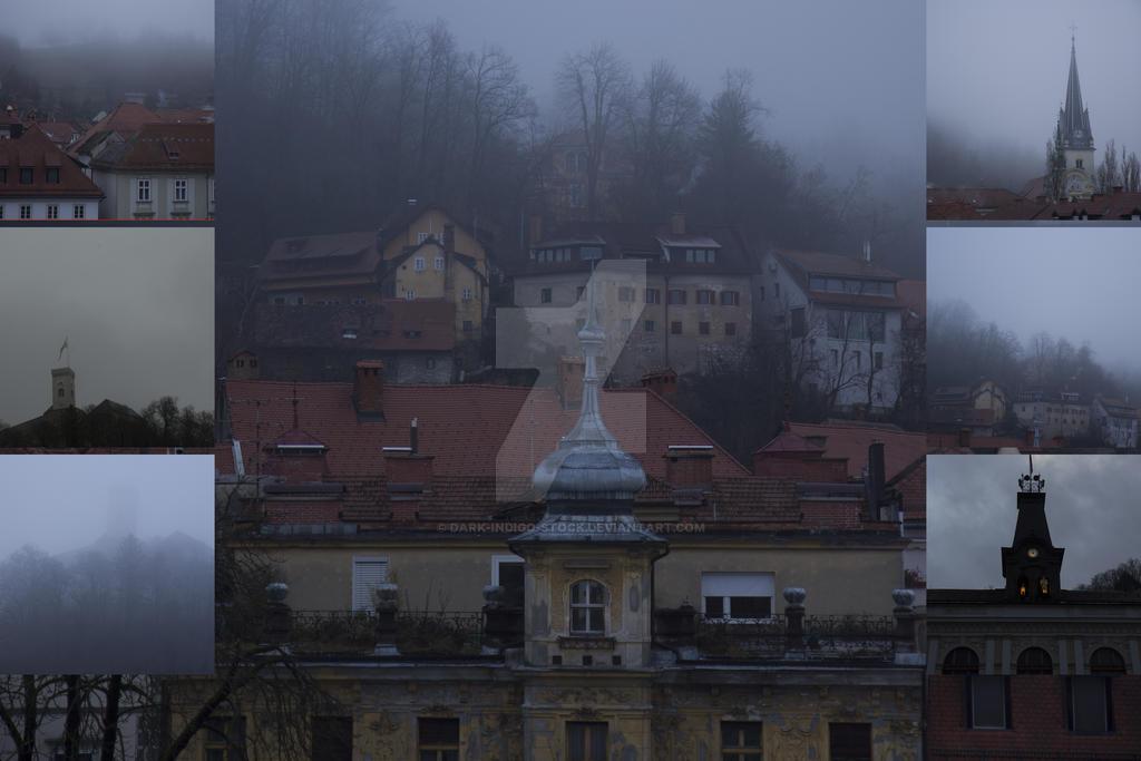Foggy streets of Ljubljana (Halloween stock pack)