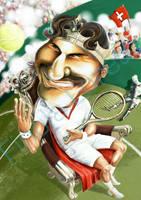 Roger Federer caricature