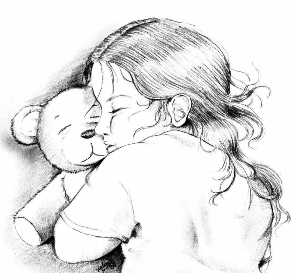 a little and her teddy by xxhauntedxx on deviantart