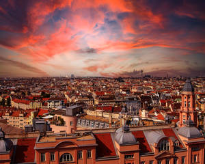 Premade Background: Sunset Over the City