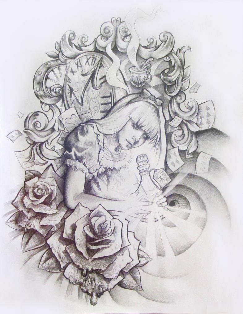 Alice in Wonderland Tattoo Design by illogan