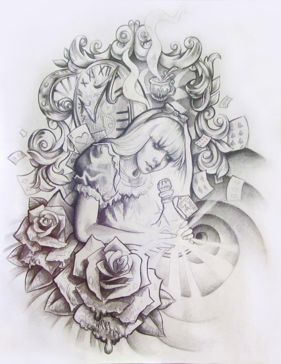 Alice in Wonderland Tattoo Design by illogan