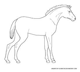 Free foal lineart - MS Paint friendly by Tulinatur