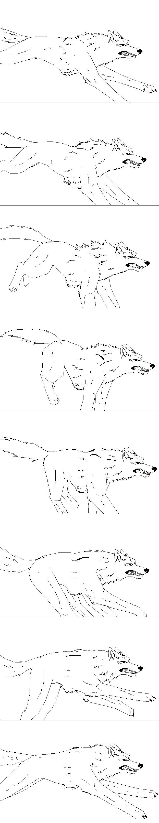 Running wolf frames, base by FayeleneFyre on DeviantArt