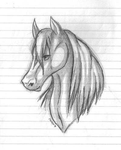Horse head sketch by fayelenefyre
