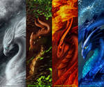 Elementary Dragons by FrostieGreen