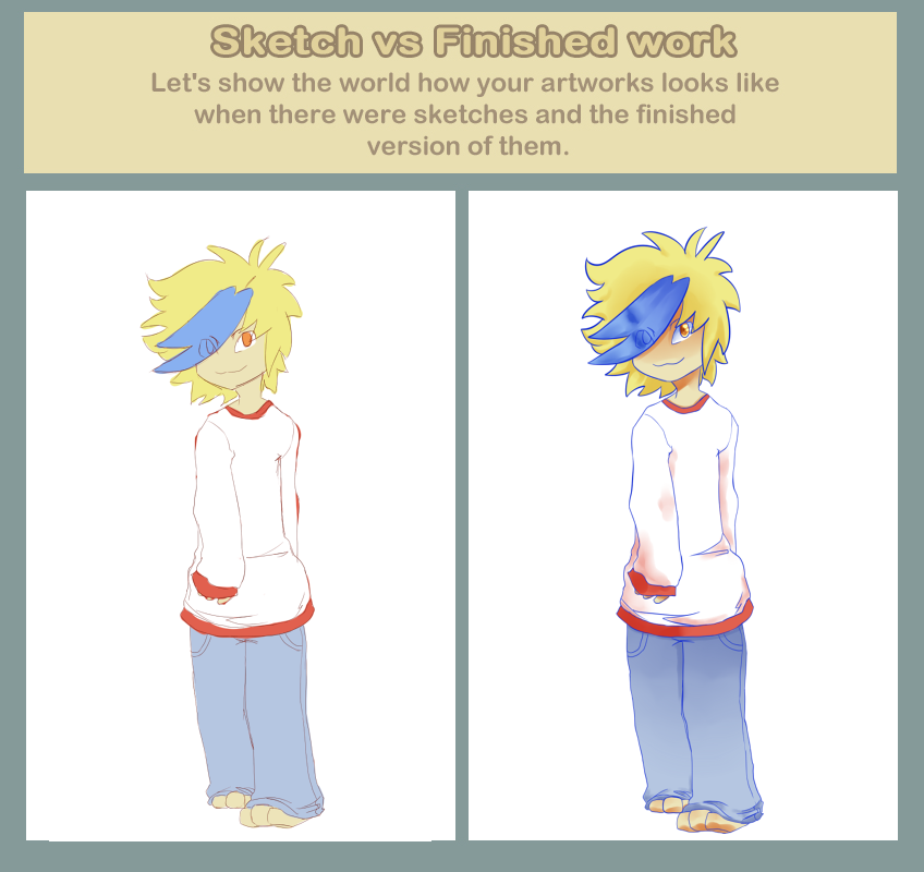 Sketch vs Finished Work by Heise-kun