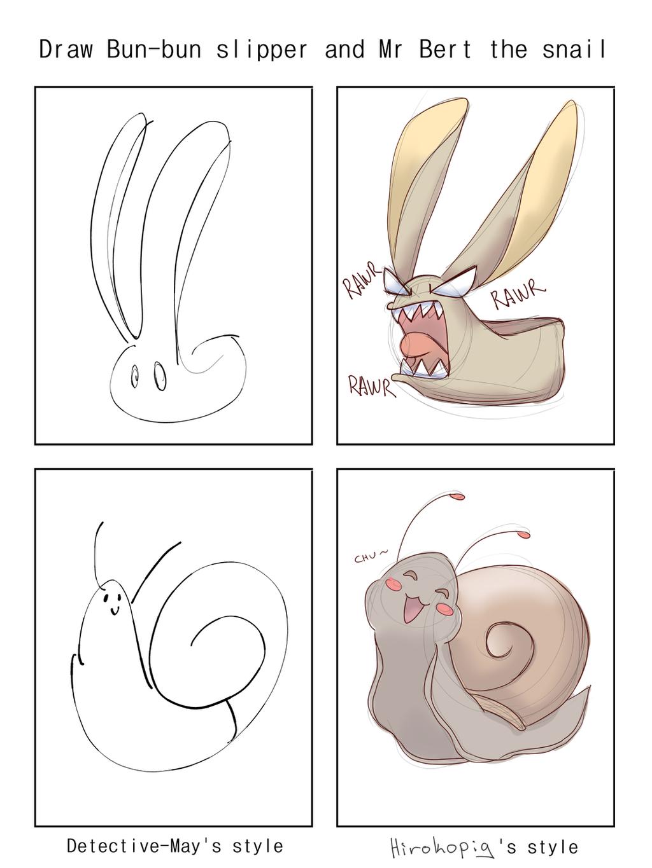 Bun Bun Slipper And Mr Bert The Snail by Heise-kun