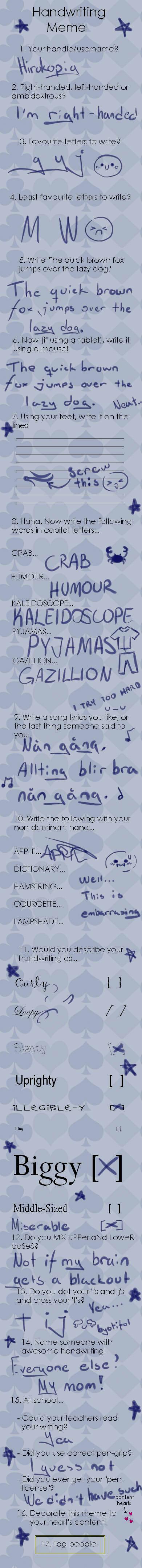 Handwriting meme by Heise-kun