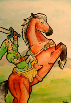 ACEO 143 - Link with Epona by Clopina
