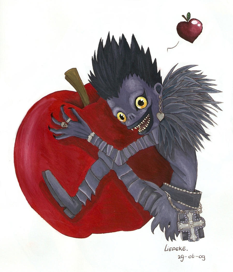 Ryuk loves apples by Liedeke on DeviantArt