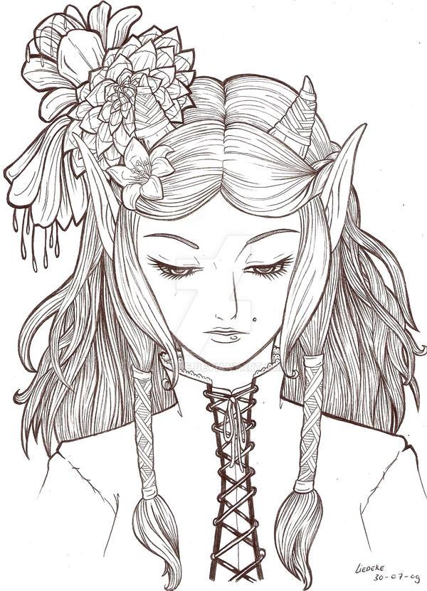 Elf Lineart By Liedeke On DeviantArt
