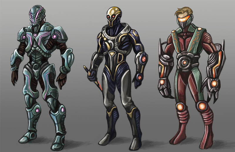 Male Sci-fi Armor Sets by KeeperofAges on DeviantArt