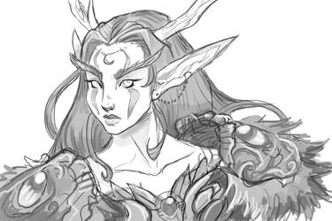 'Elaanis' My Night Elf Druid WIP Sketch by KeeperofAges